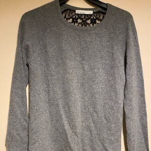 Soft Gray Essential Long Sleeve Shirt  Lace Back
